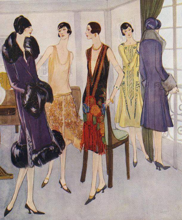 1925 colour magazine drawing of five ladies in flapper dresses