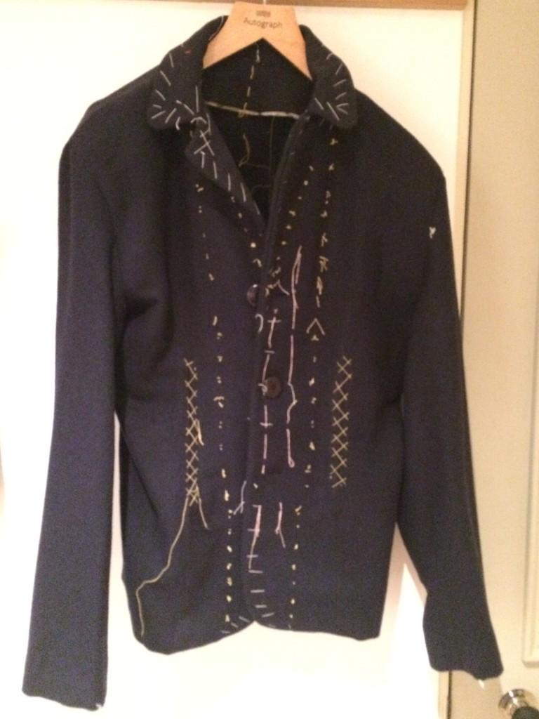 Navy blue Burda jacket with thread markings
