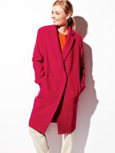 "Pink ""boyfriend"" coat by Burda patterns"