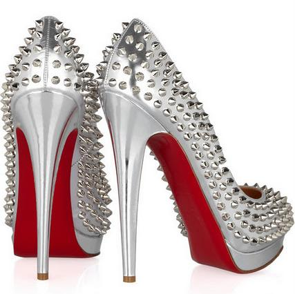Silver, red soled High heeled Louboutin shoes with studs