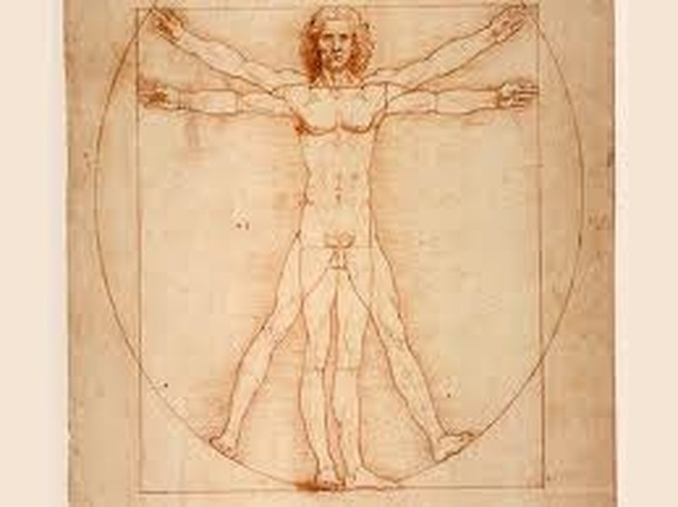 Leonardo da Vinci drawing of outstretched man in a circle