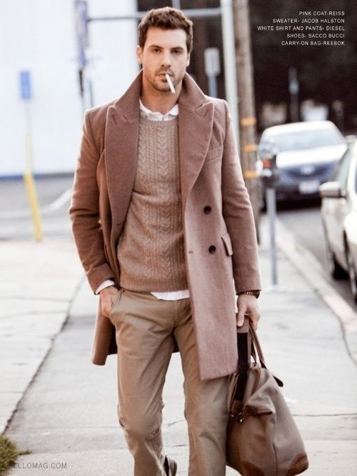 Man in several shades of light brown textured clothing