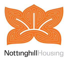 Orange Lotus leaf design logo of Notitng Hill Housing