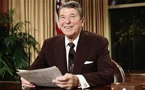 US President Ronald Reagan in a brown suit