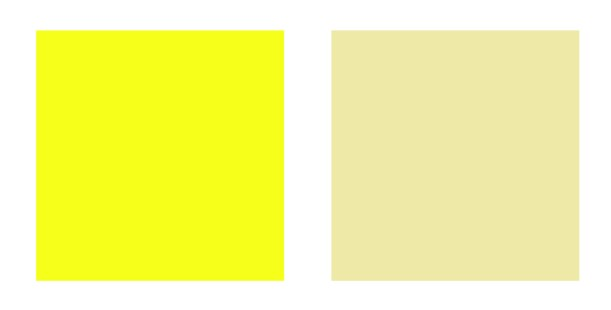 Bright and muted yellow swatches