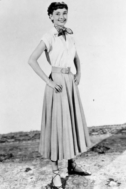 Audrey Hepburn in long flared skirt