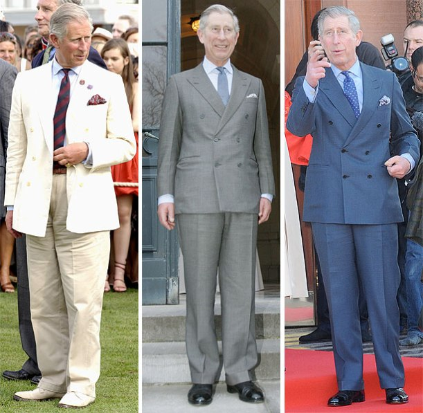 Prince Charles in three suits