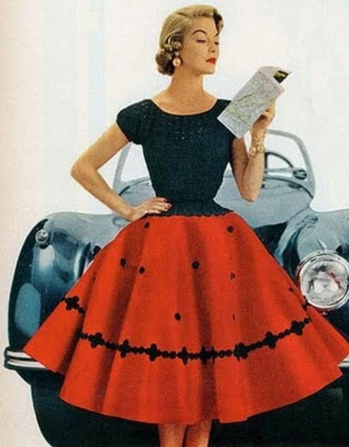 Red 1950s circular skirt