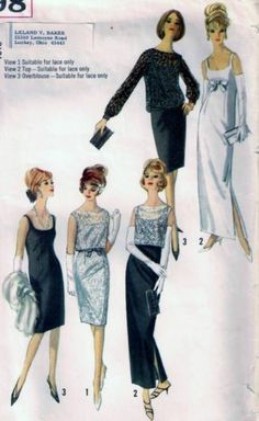 vintage pattern for dress with overblouse