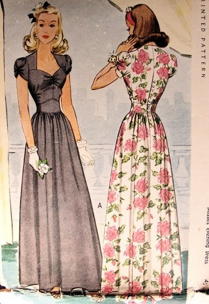vintage 1940s evening dress pattern