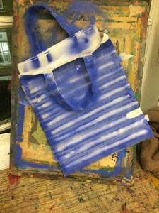 canvas bag spray painted blue