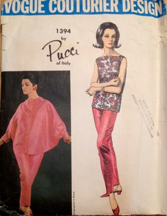 Vintage Pucci evening outfit with batwing top