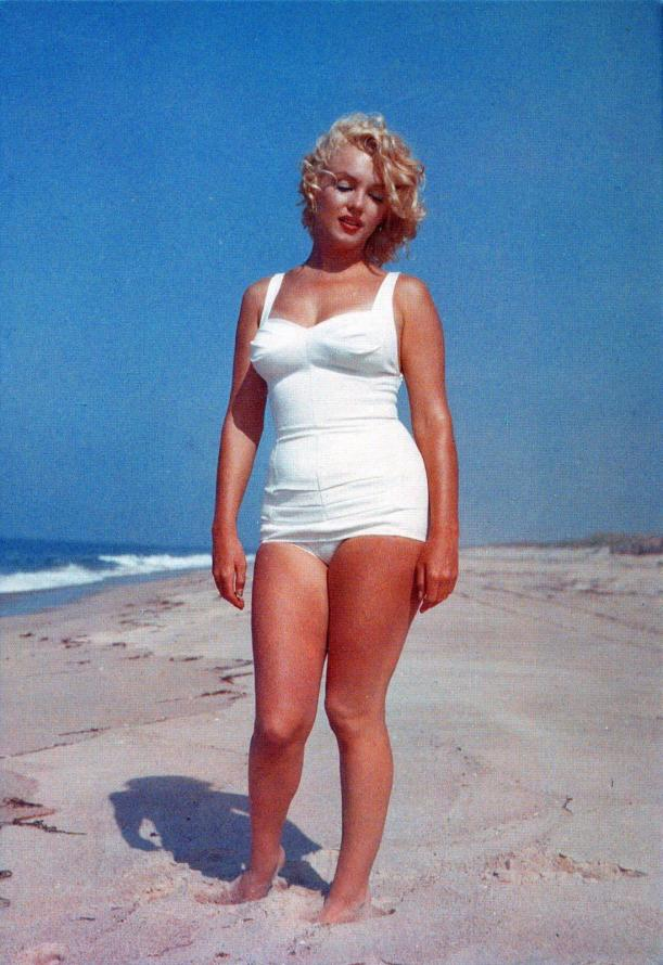 Marilyn Munroe in white swim suit