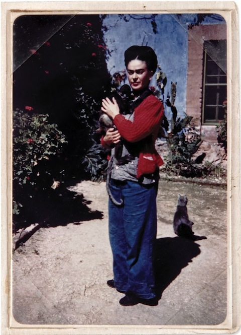 Frida Khalo with monkey