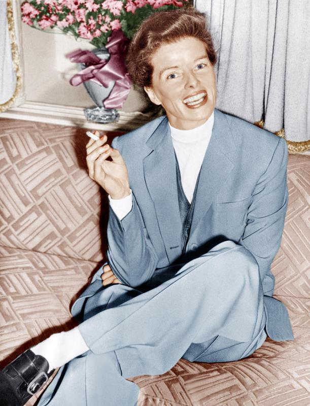 Katherine Hepburn in masculine blue suit