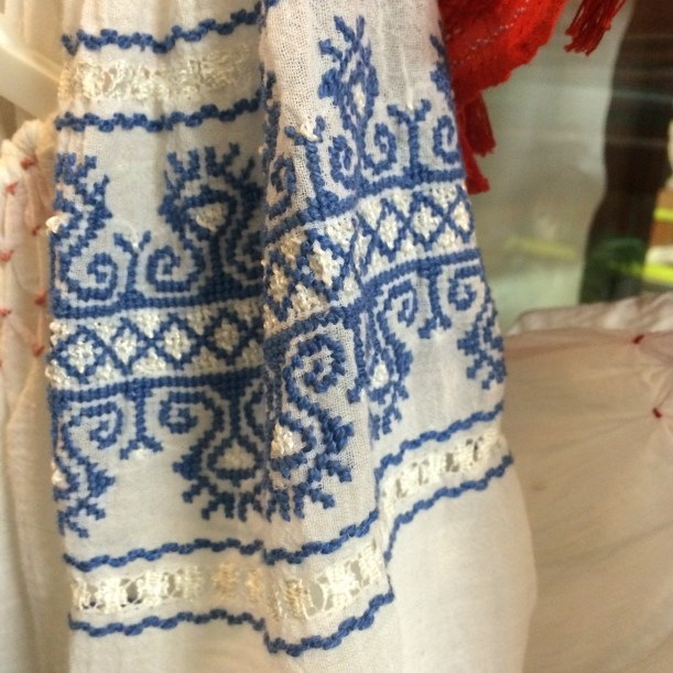 Blue and white Romanian blouse embroidery detail