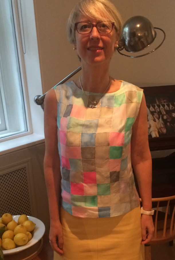 Hand painted silk blouse
