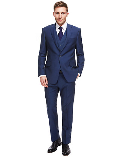 Man in blue Marks and Spencer suit