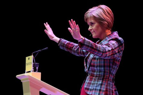 Nicola Sturgeon in tartan suit