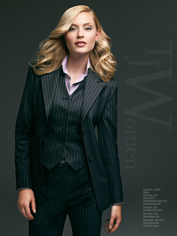 woman in pinstripe suit