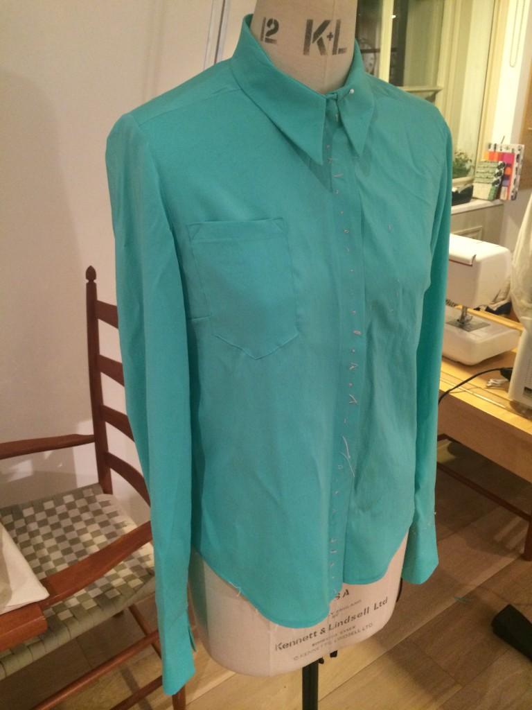 turquoise silk Burda blouse 105
