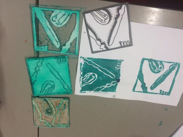 three hand made printing blocks