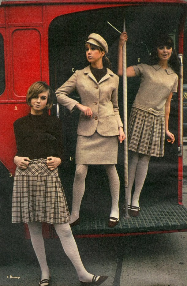 three women on bus in mini skirts