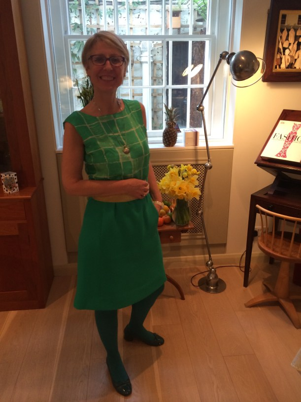 Vogue 1650 skirt in green with silk camisole
