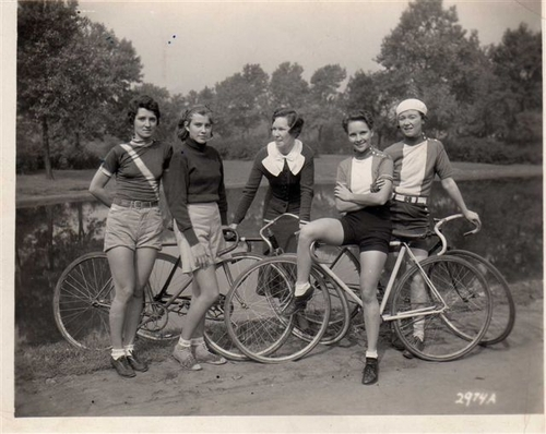 Vintage cyclists