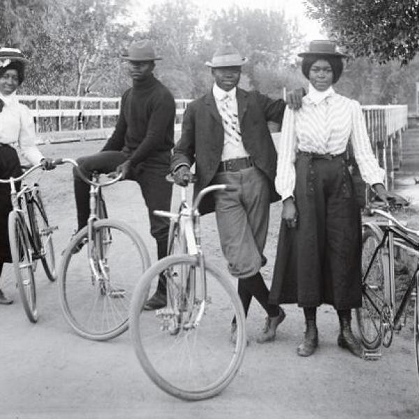 Vintage cyclists
