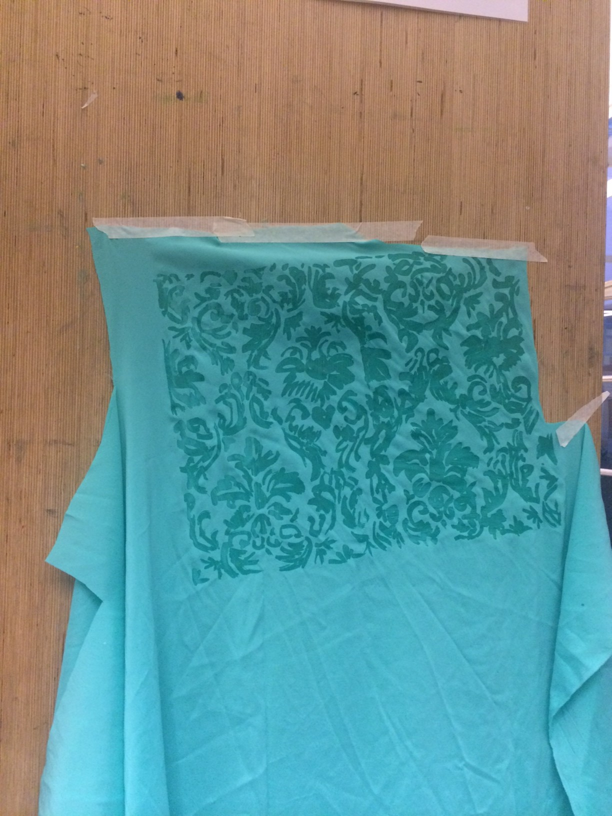 damask design transferred with hot wax