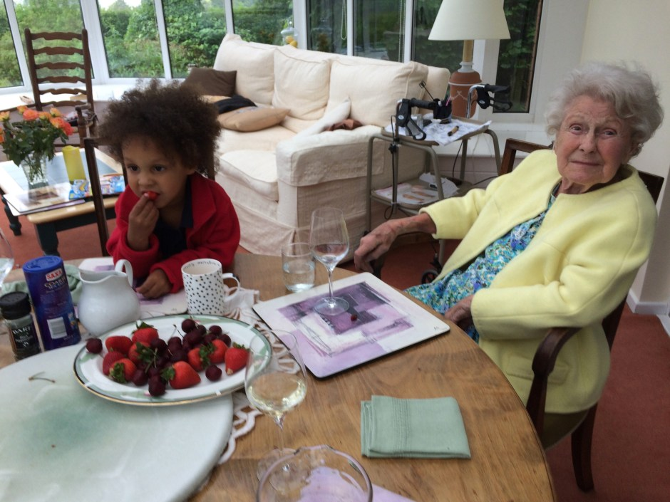 Great grandma, Ted, strawberries