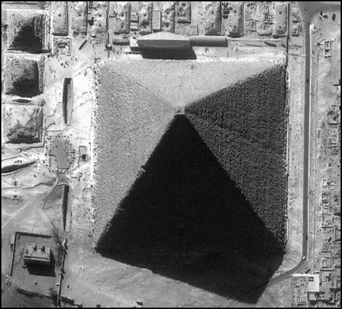 Pyramid from the air black and white