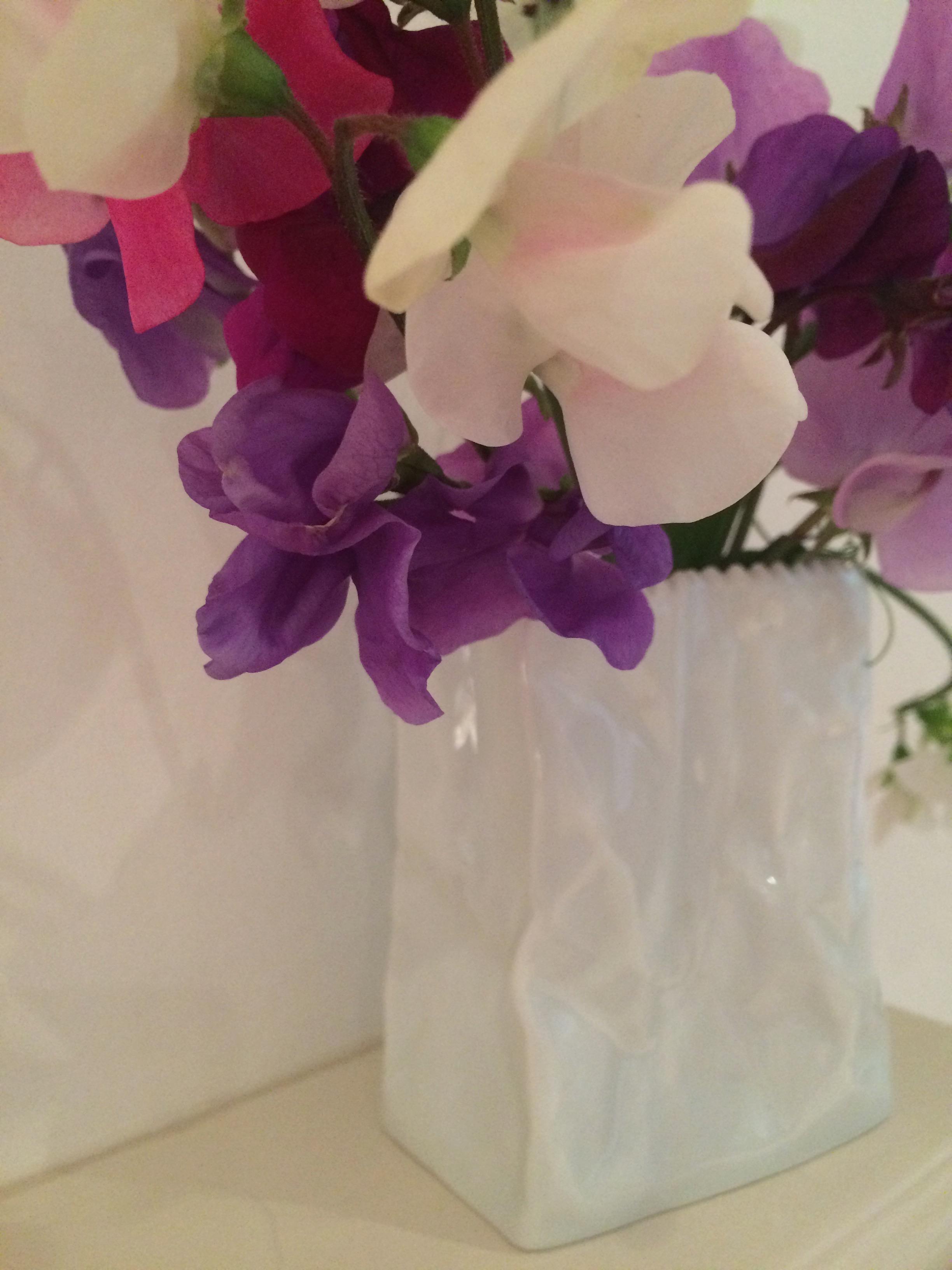 White paper bag vase