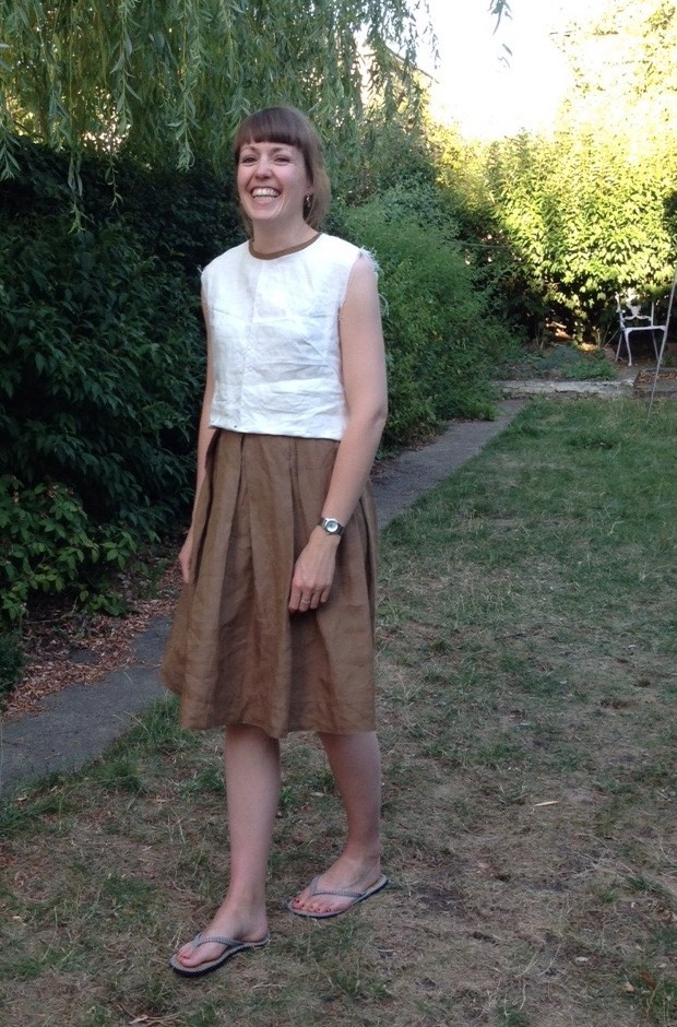 Brown skirt with cream top