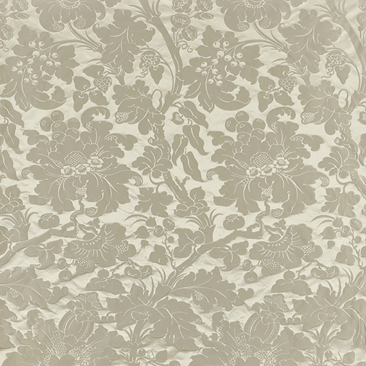 Grey silk damask curtaining fabric