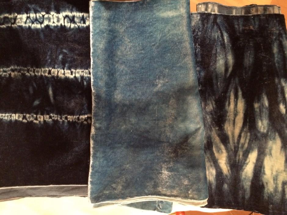 Indigo dyed velvet scarves