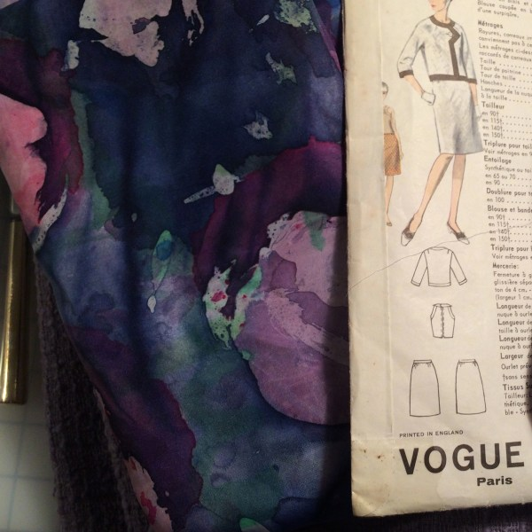 Vogue 1636 + purple hand painted silk