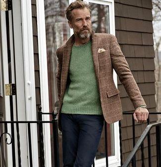 Middle Aged Men S Fashion Green Blazer
