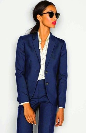 Plain navy suit