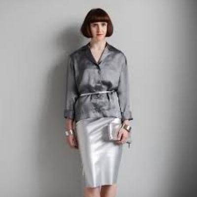 MA Pencil skirt in silver pu