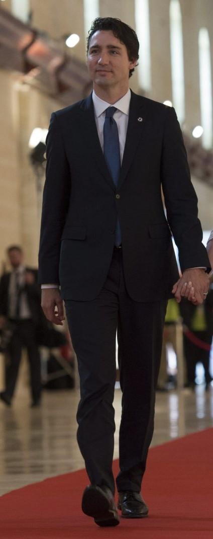 Trudeau in smart dark suit