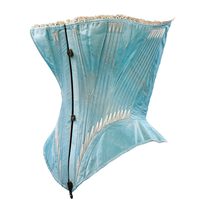 1850 Turquoise satin corset