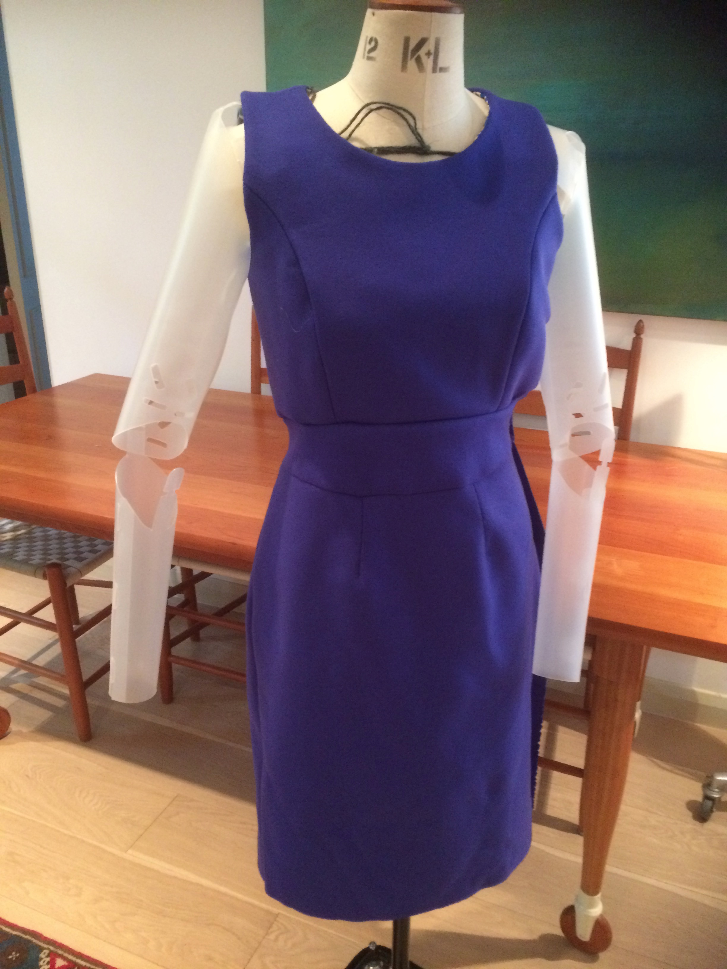 Dress with waistband (unfinished) front view