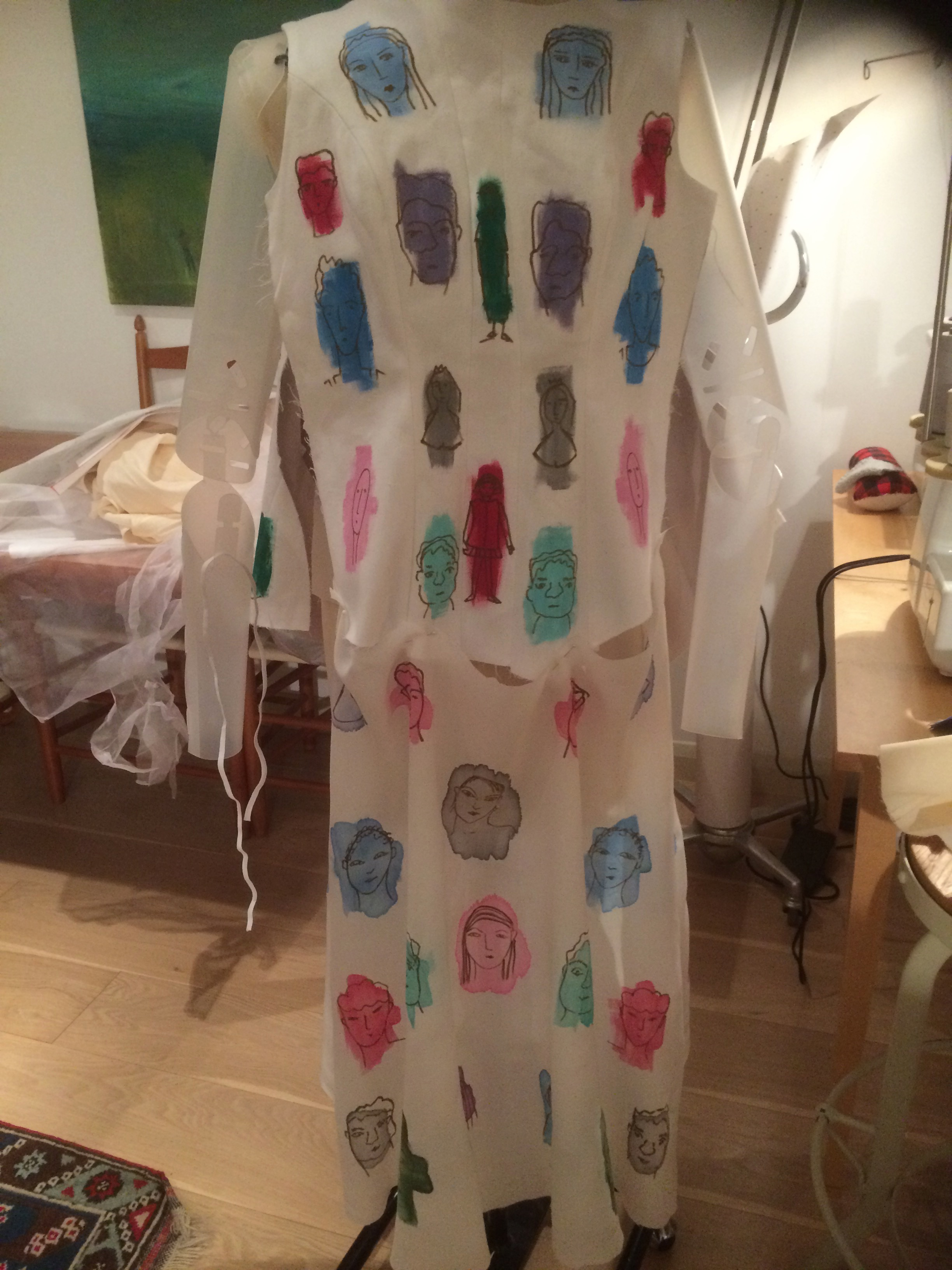 Painting on cotton and silk - inspired by Schiaparelli