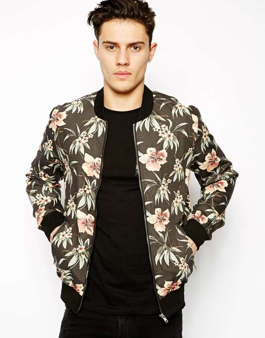 Painted silk bomber