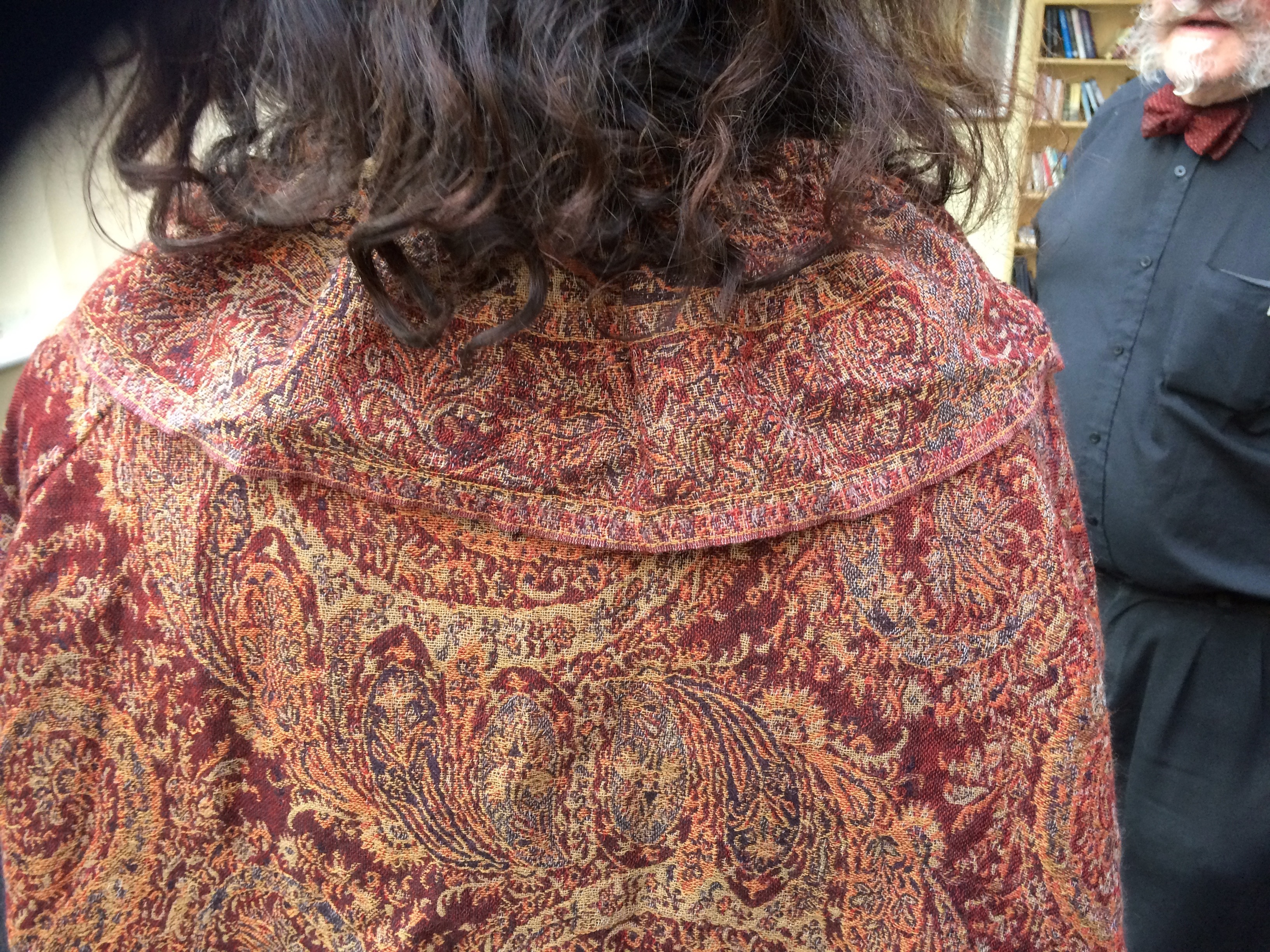 Back collar on the two Indian shawls dress