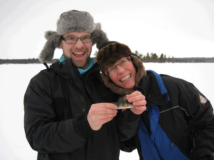 I catch a very small fish (with Finnish guide)