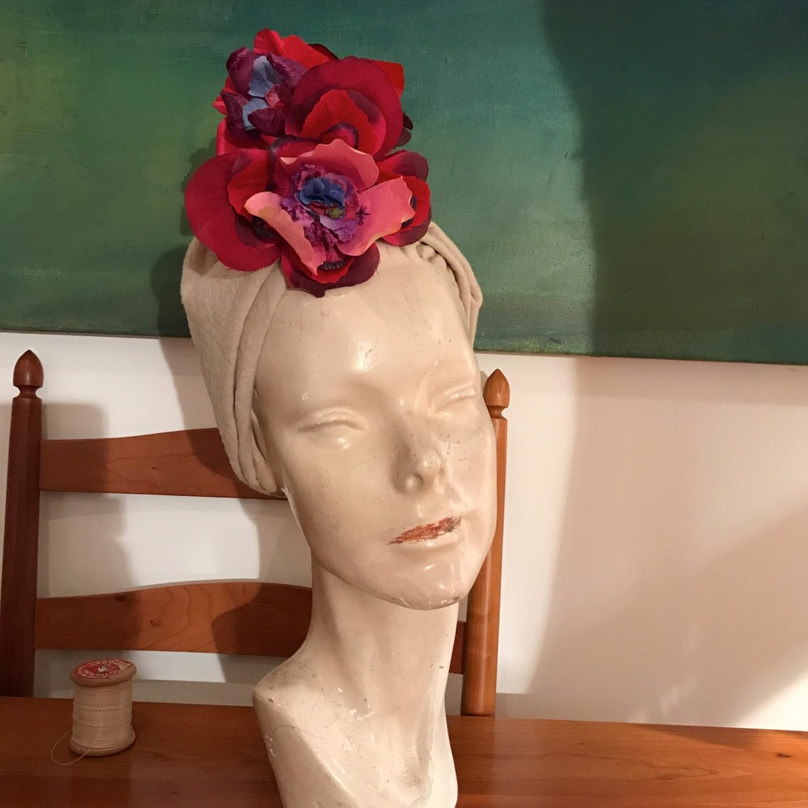 Turban Hat with flowers 1940s