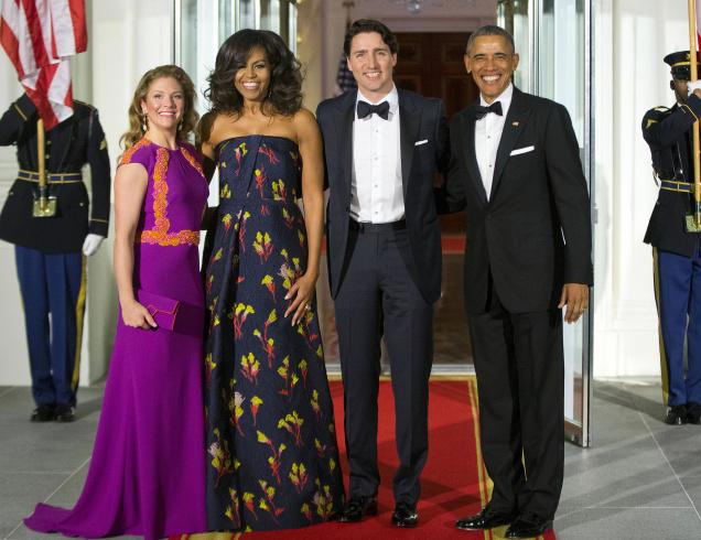 Mrs Trudeau tries to look taller!